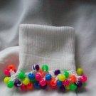 Neon Fringe  Girls Custom Beaded Crocheted Socks