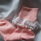 Peach and White Crocheted Beaded Bobby Socks