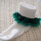 Green Trimmed  Christmas Beaded Crocheted Bobby Socks
