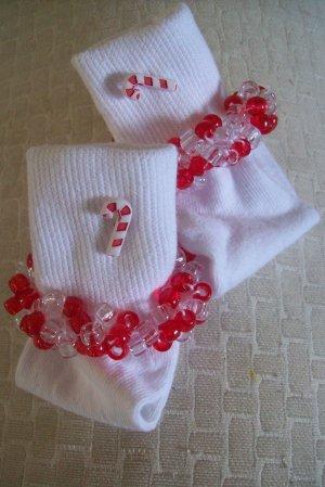 Girls Beaded Socks Custom Size Candy Cane