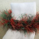 Christmas Red Green Fur Trimmed Hand Crocheted Socks