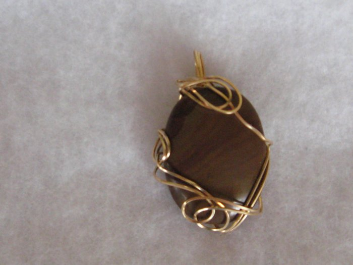 Large oval Tigereye Hand sculpted wire pendant