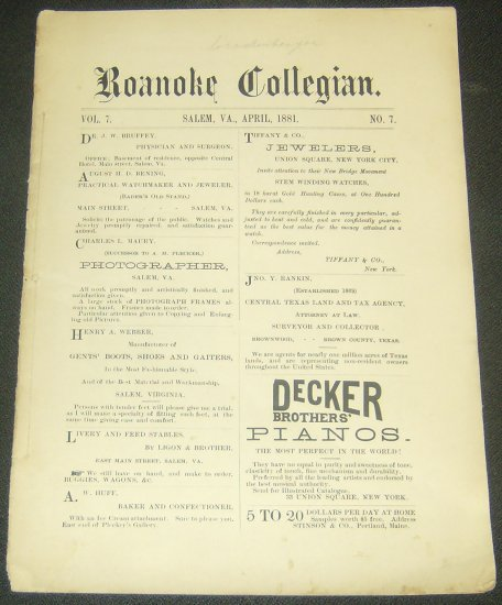 1881 Roanoke Collegian College Newspaper