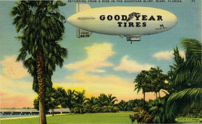 1940's Goodyear Blimp Postcard Miami FL
