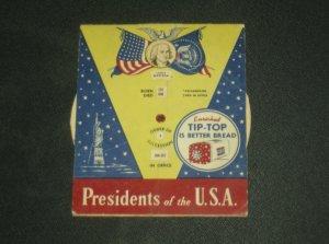 Retro 1950's Tip Top Bread Advertising Insert Presidents