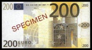 200 EURO SPECIMEN BANKNOTE - UNCIRKULATED