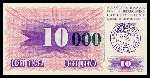 BOSNIA AND HERZEGOVINA - 10 000 Dinara 1993, Pick 53a, UNC