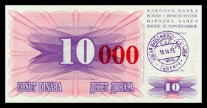 BOSNIA AND HERZEGOVINA - 10 000 Dinara 1993, Pick 53b, UNC