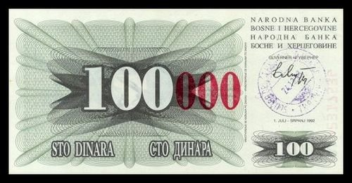 BOSNIA AND HERZEGOVINA - 100 000 Dinara 1993, Pick 56d, UNC
