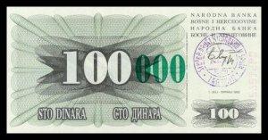 BOSNIA AND HERZEGOVINA - 100 000 Dinara 1993, Pick 56c, UNC