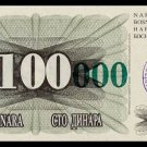 BOSNIA AND HERZEGOVINA - 100 000 Dinara 1993, Pick 56a, UNC