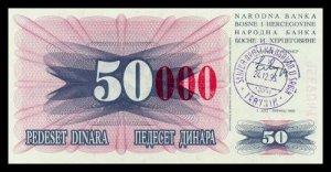 BOSNIA AND HERZEGOVINA - 50 000 Dinara 1993, Pick 55d, UNC