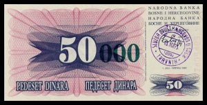 BOSNIA AND HERZEGOVINA - 50 000 Dinara 1993, Pick 55a, UNC