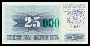 BOSNIA AND HERZEGOVINA - 25 000 Dinara 1993, Pick 54c, UNC