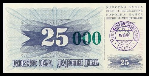 BOSNIA AND HERZEGOVINA - 25 000 Dinara 1993, Pick 54a, UNC