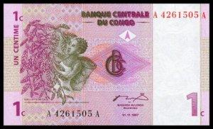 CONGO DEMOCRATIC REPUBLIC - 1 Centime 1997, Pick 80, UNC - Beautiful note