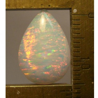 White lab created opal cabochon, 16.5X11mm drop
