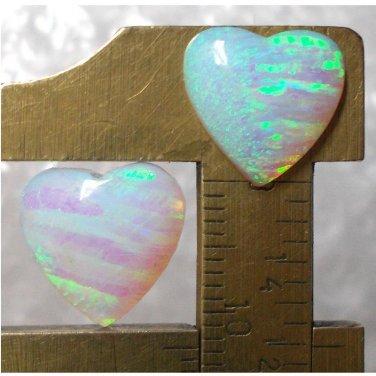 lab created opal pair, 12.5X12.5mm heart