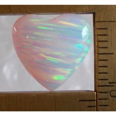 White lab created opal cabochon, 12X12.5mm heart