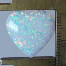 White lab created opal cabochon, 17X17mm heart