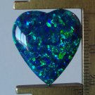 Peacock blue created opal cab, 23X20.5mm heart
