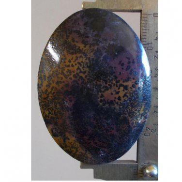 Jasper with psilomelane dendrites, 52.5X38mm oval