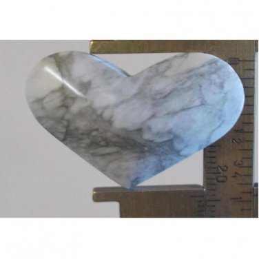 Howlite cabochon, 38X24.5mm wide heart