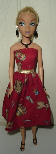 Barbie Doll Type Dress Holiday Baking Gingerbread