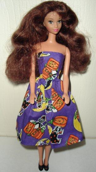 Barie Doll Type Dress Halloween Purple Pumpkin and Black Cat