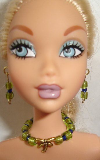 Barbie Doll Type Jewelry Green Dragonfly set