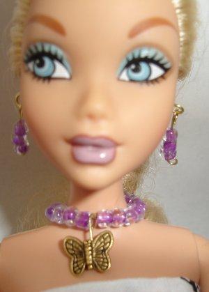Barbie Doll Type Jewelry Purple Butterfly set