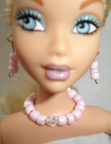 Barbie Doll Type Jewelry Pink Sparkle set