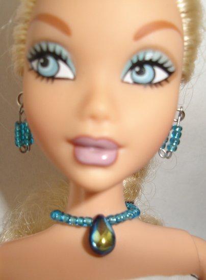 Barbie Doll Type Jewelry Light Blue Tear Drop set