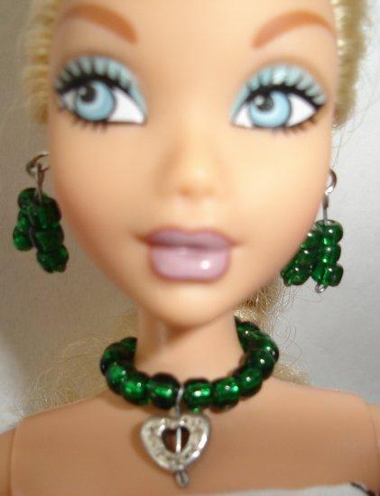Barbie Doll Type Jewelry Green Heart set