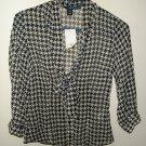 H&M Sheer Black and White Blouse Shirt Top