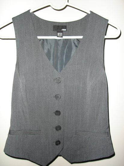 H&M Grey Charcoal with white Stripes Vest
