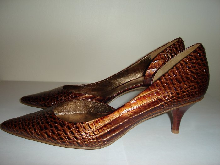 Nine West Brown Croc leather heels