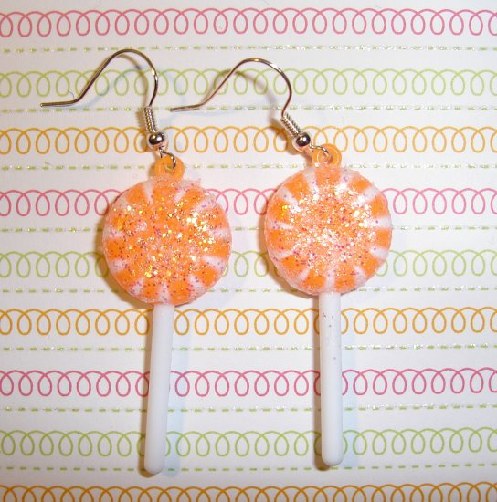 Orange Lollipop Sucker Earrings
