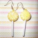 Lemon Yellow Lollipop Sucker Earrings