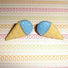 Blueberry Blue Ice Cream Snow Cone Earrings