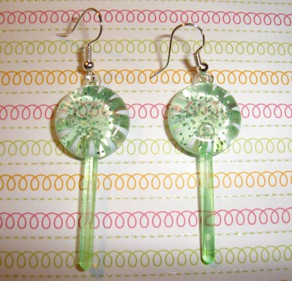 Watermelon Green Lollipop Sucker Earrings