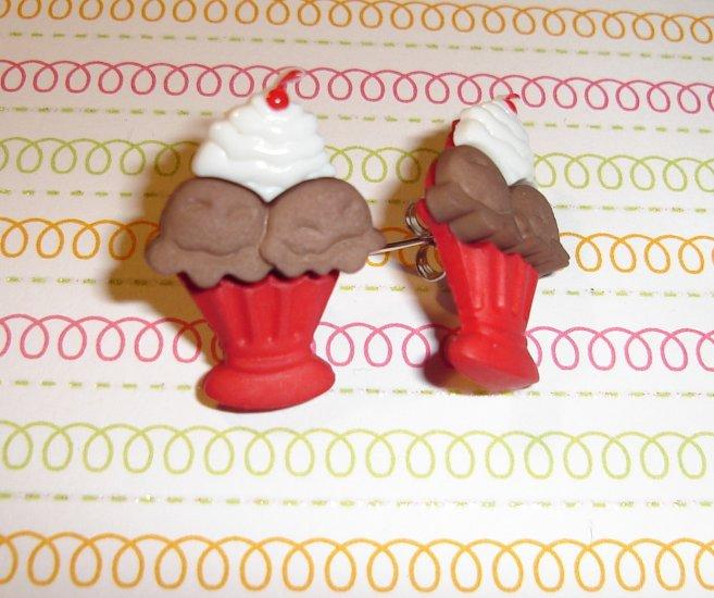 chocolate Ice Cream Sundae Earrings