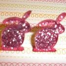 Pink Glitter Bunny Rabbit Earrings
