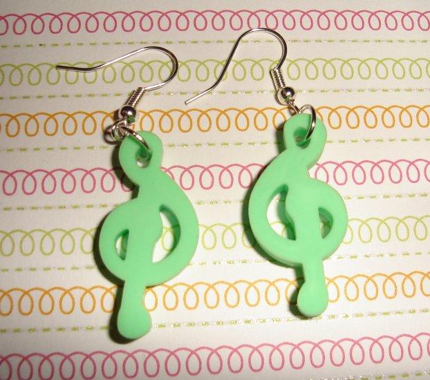 Green Music Note Earrings