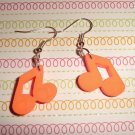 Orange Music Note Earrings