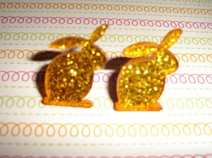 Golden Orange Glitter Bunny Rabbit Earrings