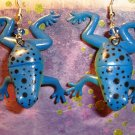 Blue Frog Earrings
