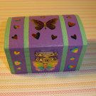 Wooden Purple Butterfly & Hearts Trinket Box