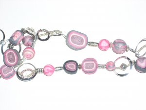 Long Pink and Silver necklace