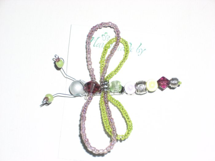 Dragonfly Pin in Amethyst and apple Green